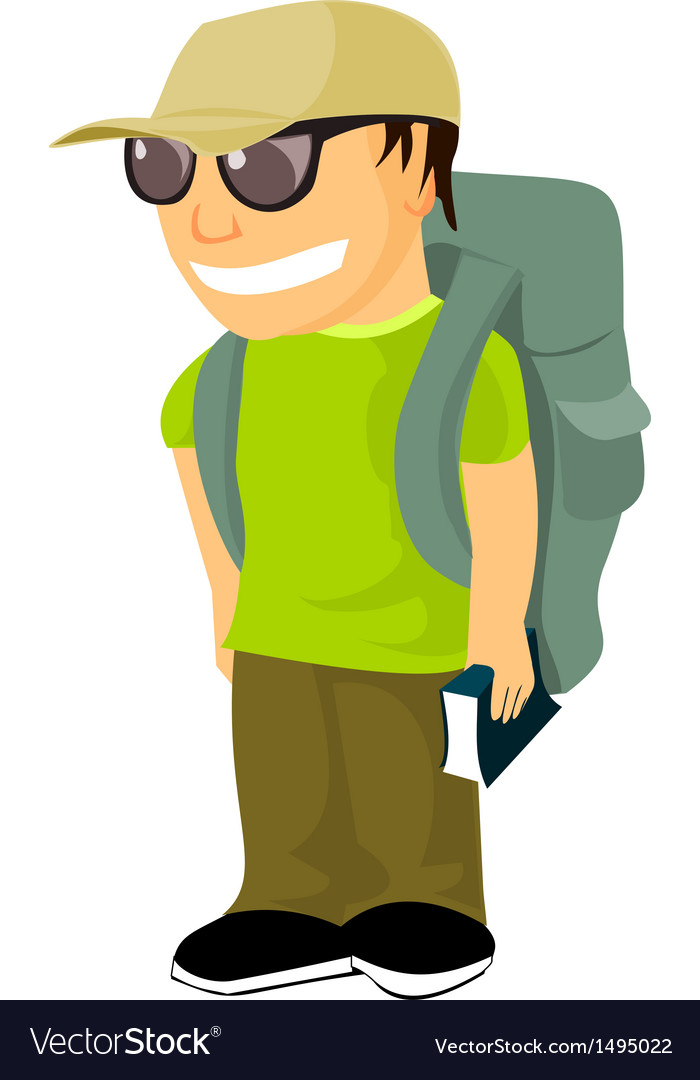 Young backpacker with travel guide vector | Price: 1 Credit (USD $1)