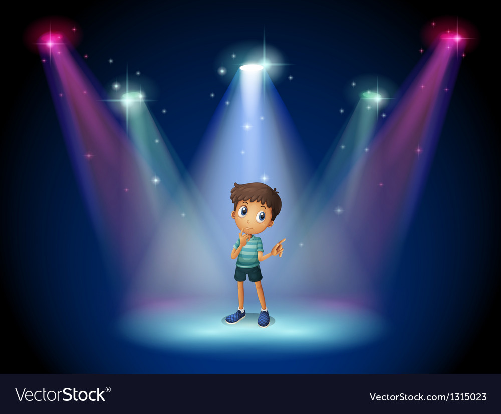 A boy acting at the stage with spotlights vector | Price: 1 Credit (USD $1)