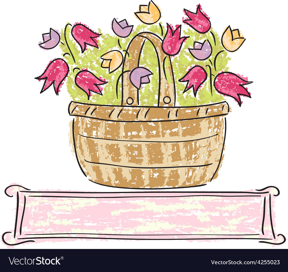 Basket with flowers vector | Price: 1 Credit (USD $1)