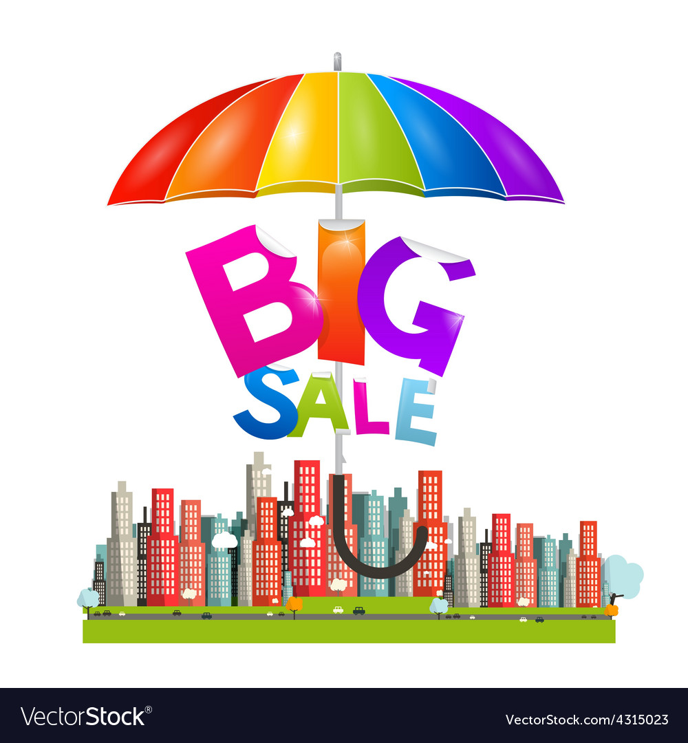 Big sale title with colorful parasol - umbrella vector | Price: 1 Credit (USD $1)