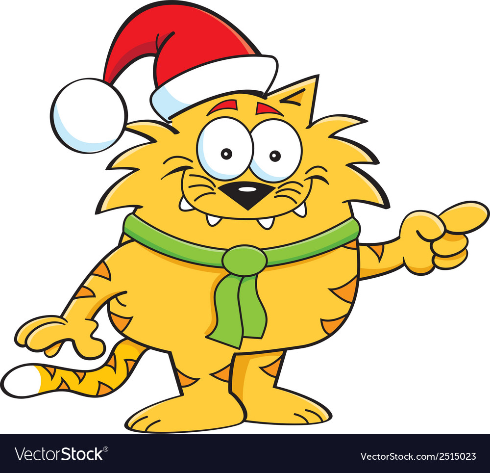 Cartoon cat santa vector | Price: 1 Credit (USD $1)