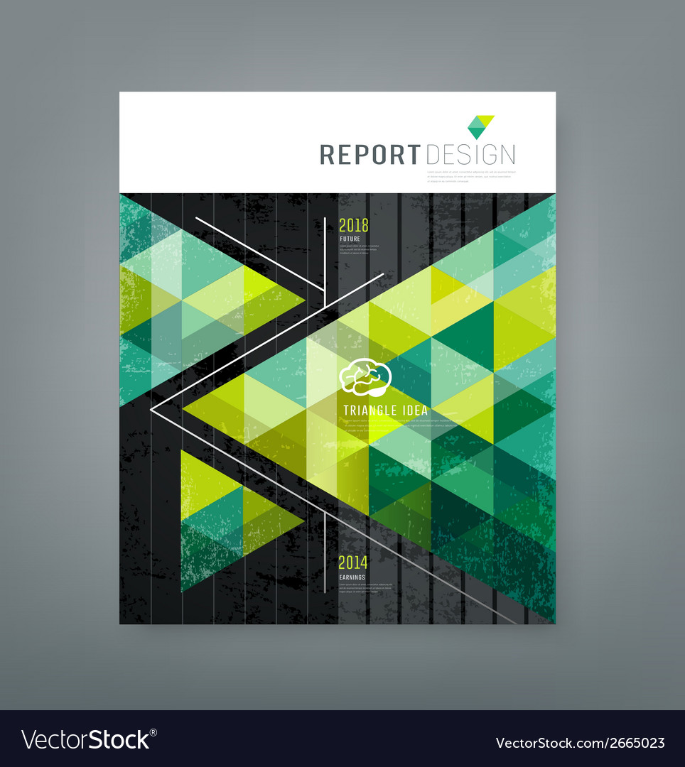 Cover report triangle geometry green for business vector | Price: 1 Credit (USD $1)