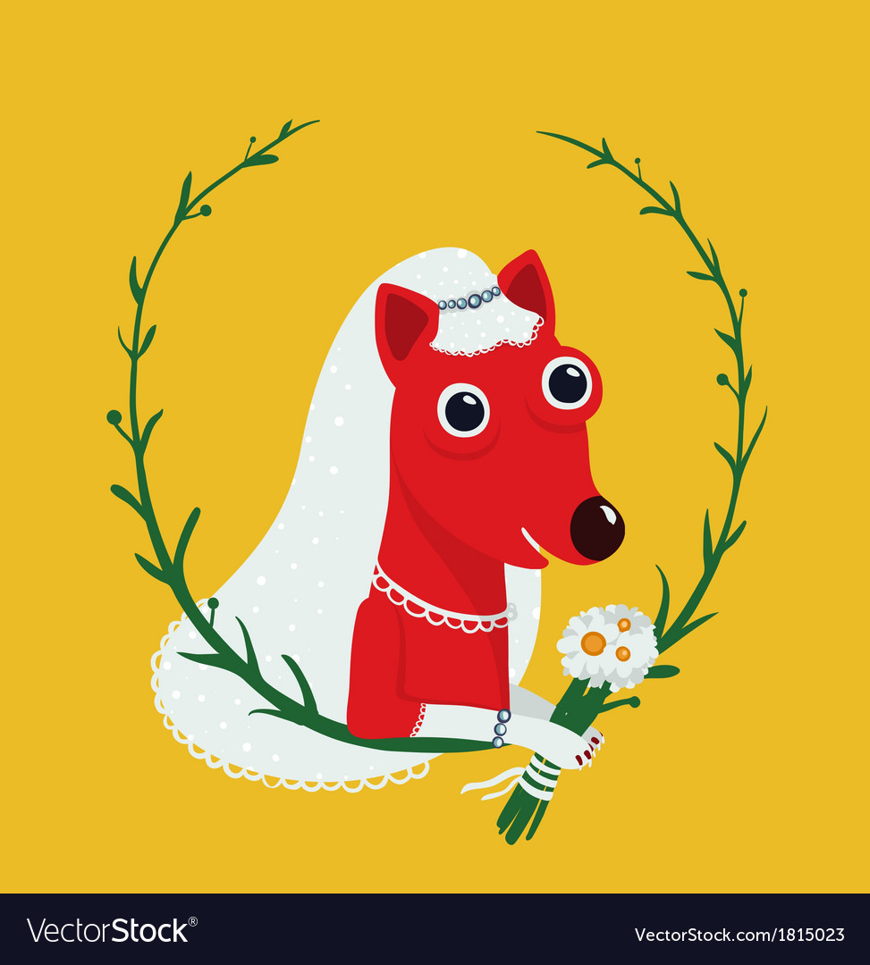 Dog bride funny portrait vector | Price: 1 Credit (USD $1)
