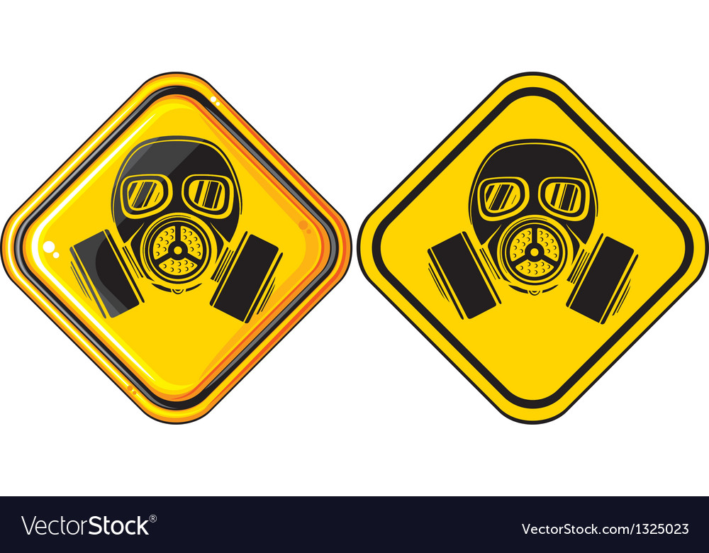 Gas mask hazardous sign vector | Price: 1 Credit (USD $1)