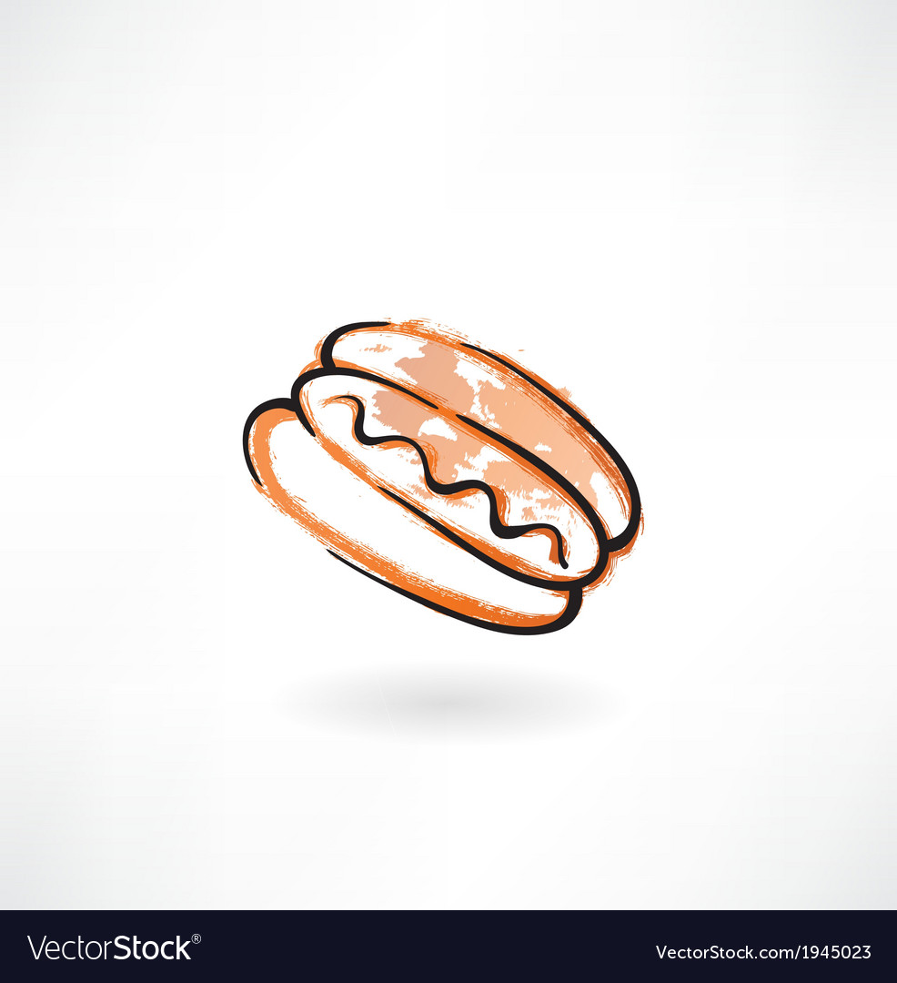 Hot dog grunge icon vector | Price: 1 Credit (USD $1)