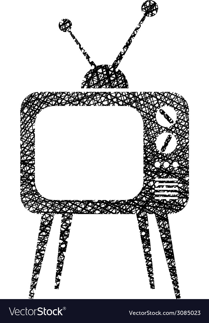 Retro tv set icon with hand drawn lines texture vector | Price: 1 Credit (USD $1)