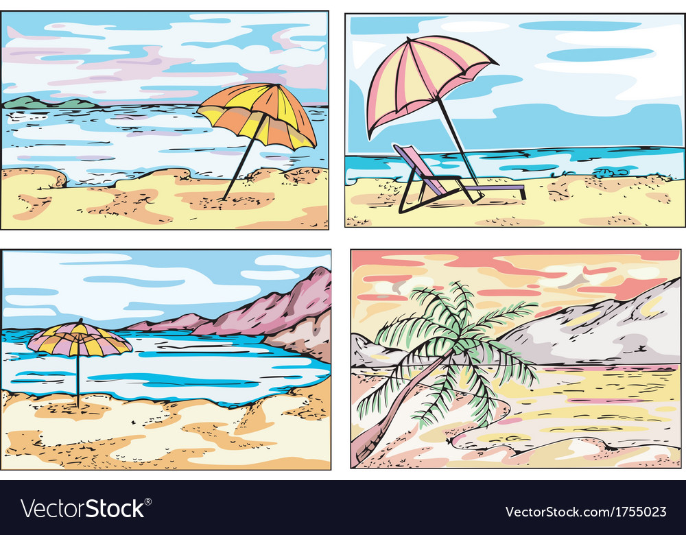 Sunny beach sketches vector | Price: 1 Credit (USD $1)