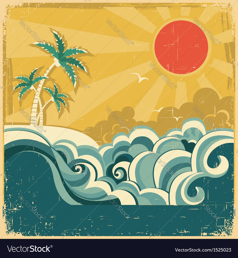 Vintage nature tropical seascape vector | Price: 1 Credit (USD $1)