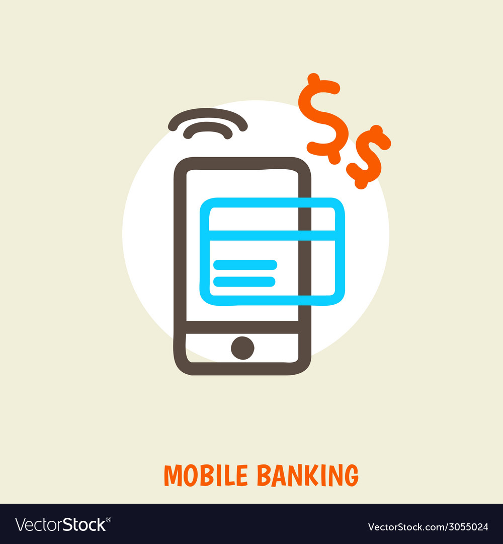 Colored concept for mobile banking and online vector | Price: 1 Credit (USD $1)