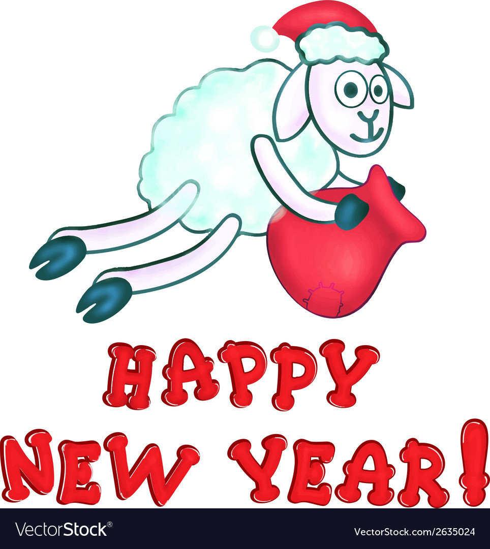 Greeting card with new years sheeps vector | Price: 1 Credit (USD $1)