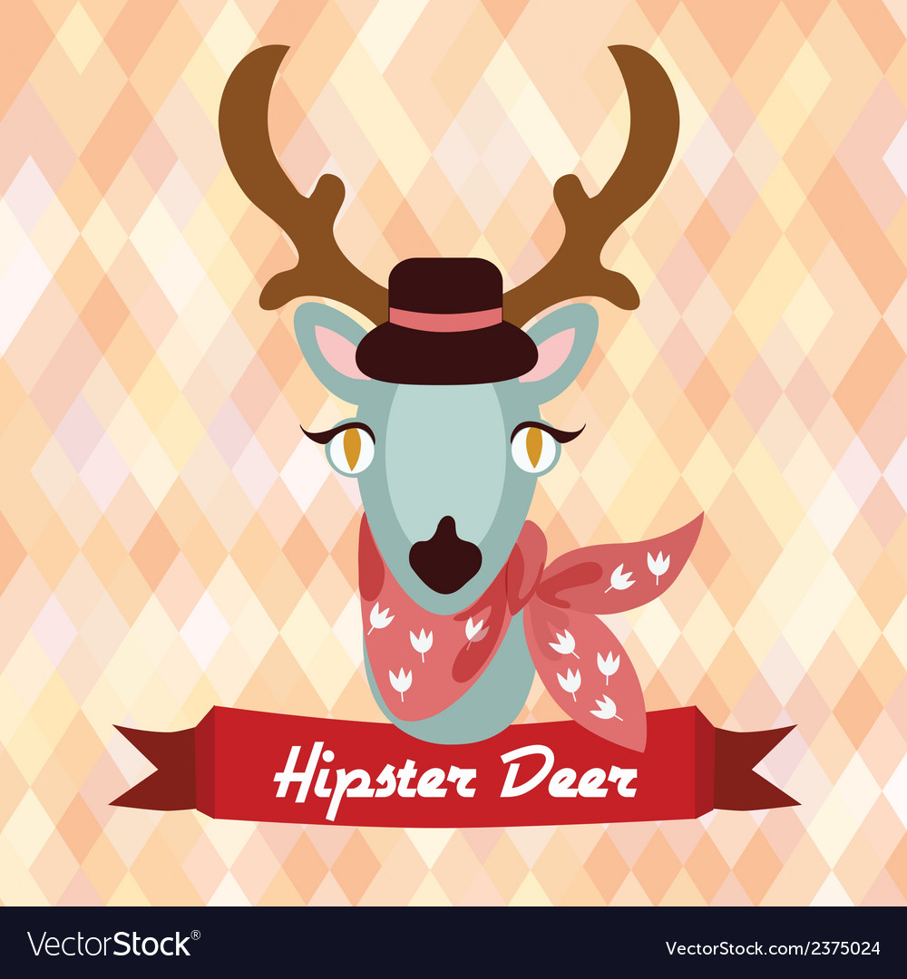 Hipster deer poster vector | Price: 1 Credit (USD $1)