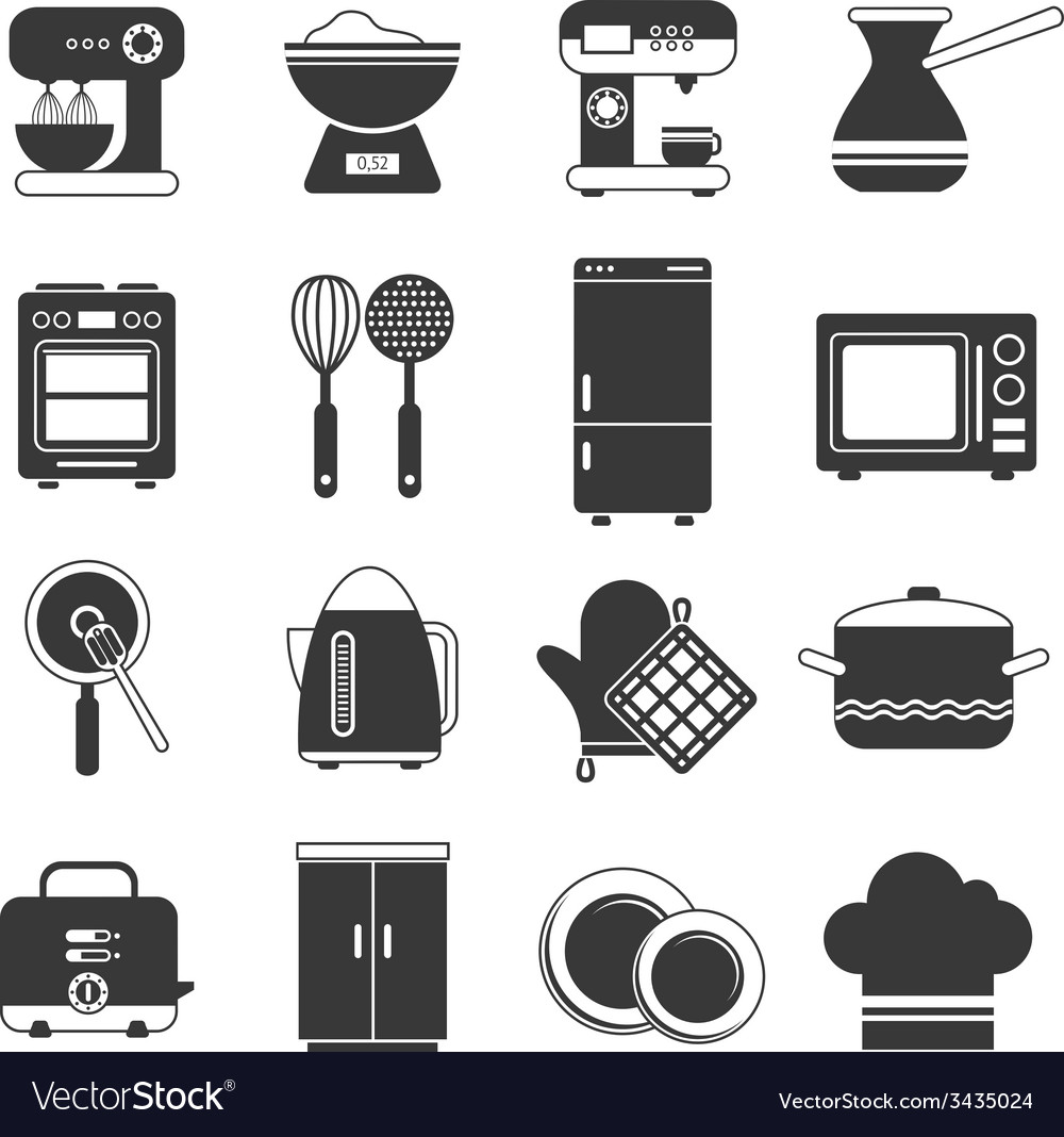 Kitchen icons black and white set vector | Price: 1 Credit (USD $1)