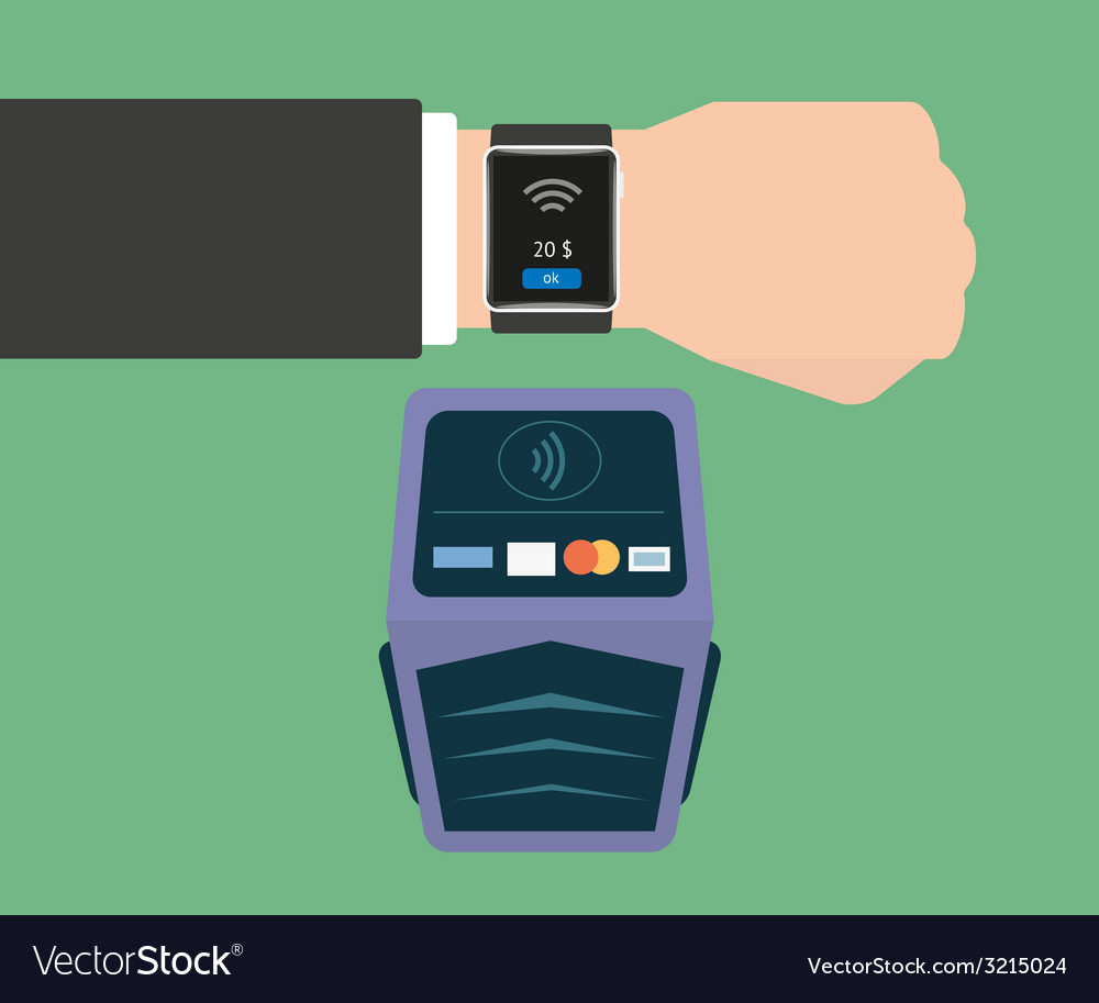 Payment via smart wristwatch vector | Price: 1 Credit (USD $1)