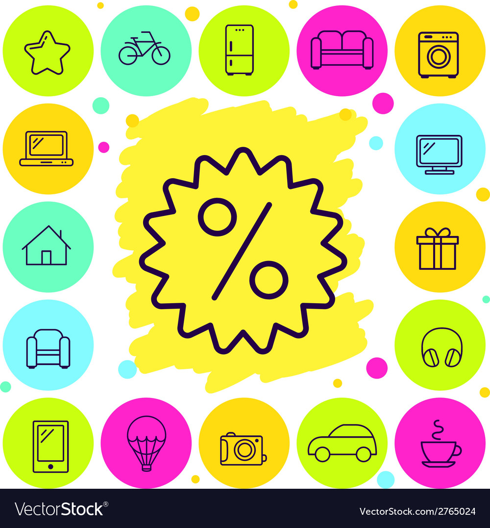 Set of shop and discount icons vector | Price: 1 Credit (USD $1)