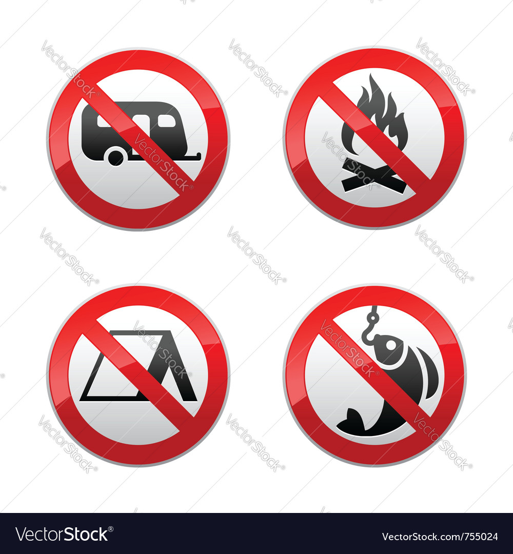 Set prohibited signs - turism vector | Price: 1 Credit (USD $1)