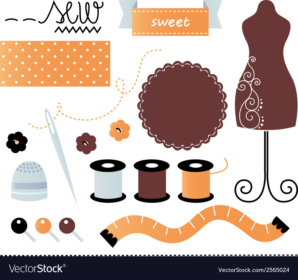 Sewing set items isolated on white vector | Price: 1 Credit (USD $1)