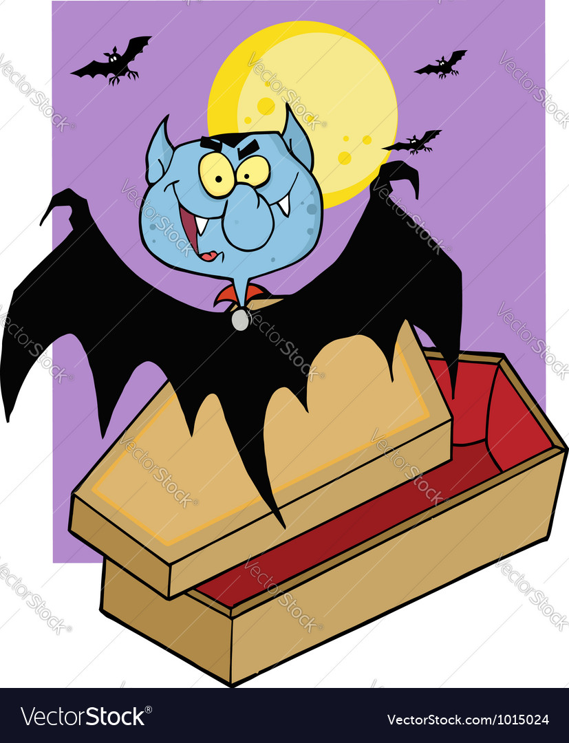 Vampire bat hovering above a coffin vector | Price: 1 Credit (USD $1)