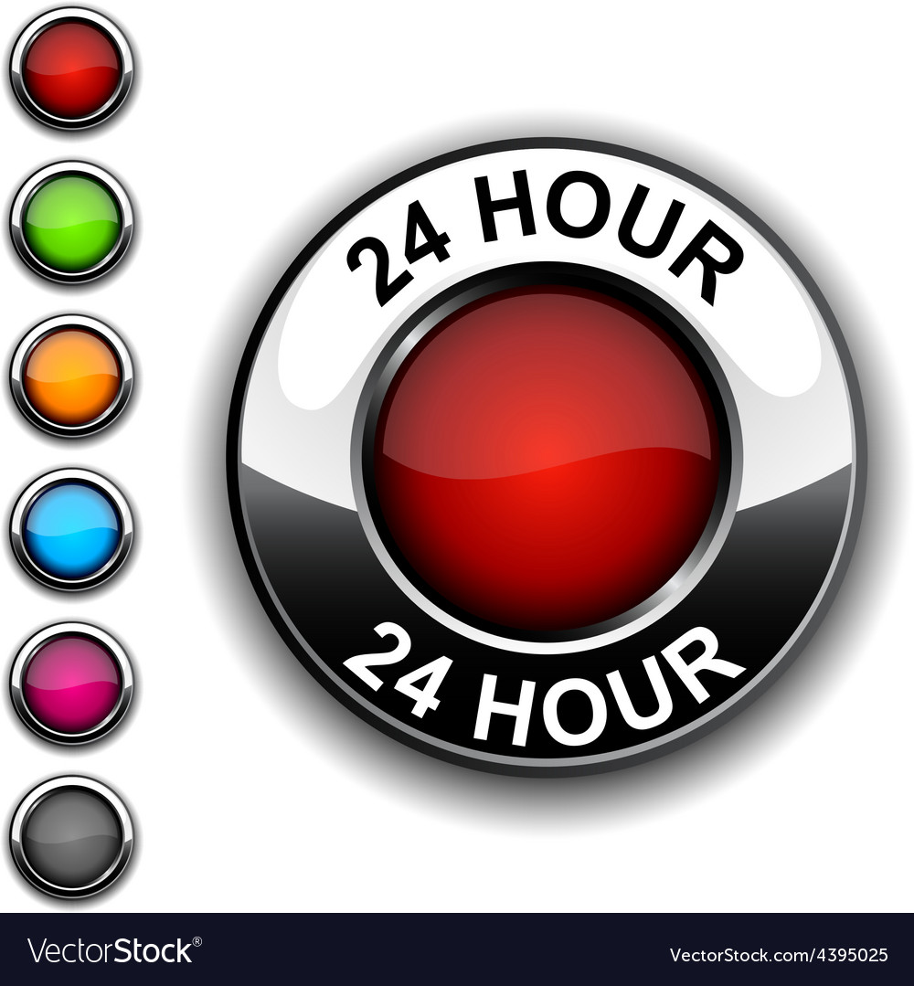 24 hour button vector | Price: 1 Credit (USD $1)