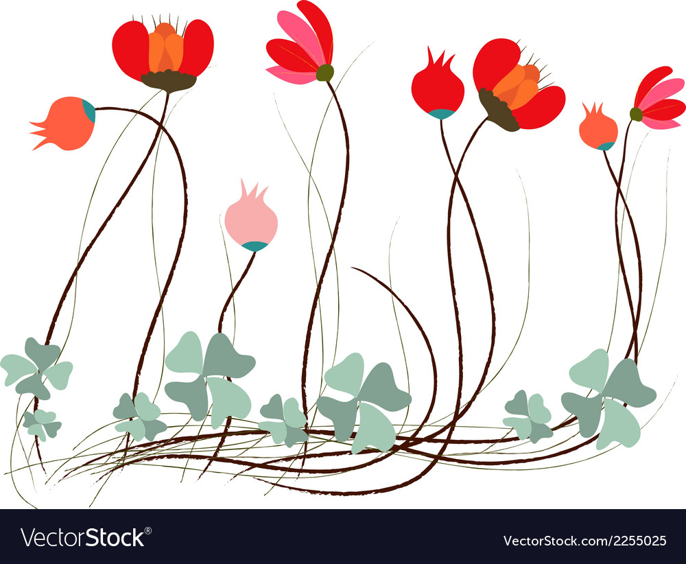 Background with flowers in retro style vector   Price: 1 Credit (USD $1)