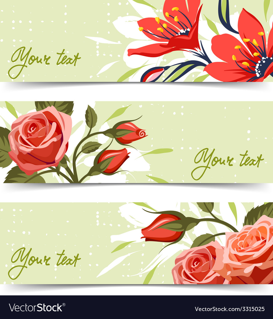 Banner with flowers vector | Price: 3 Credit (USD $3)