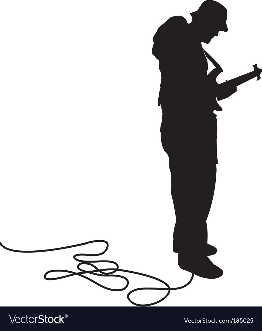 Bassist silhouette vector | Price: 1 Credit (USD $1)