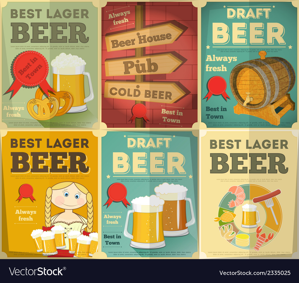 Beer posters set vector | Price: 1 Credit (USD $1)