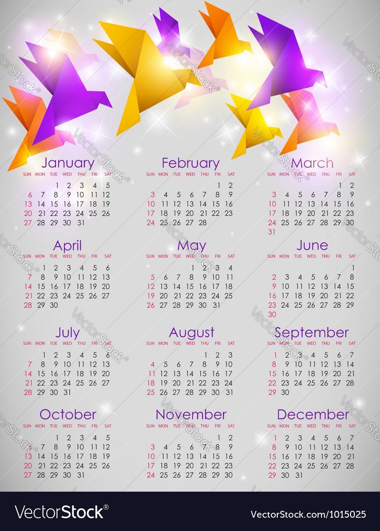 Calendar origami vector | Price: 1 Credit (USD $1)