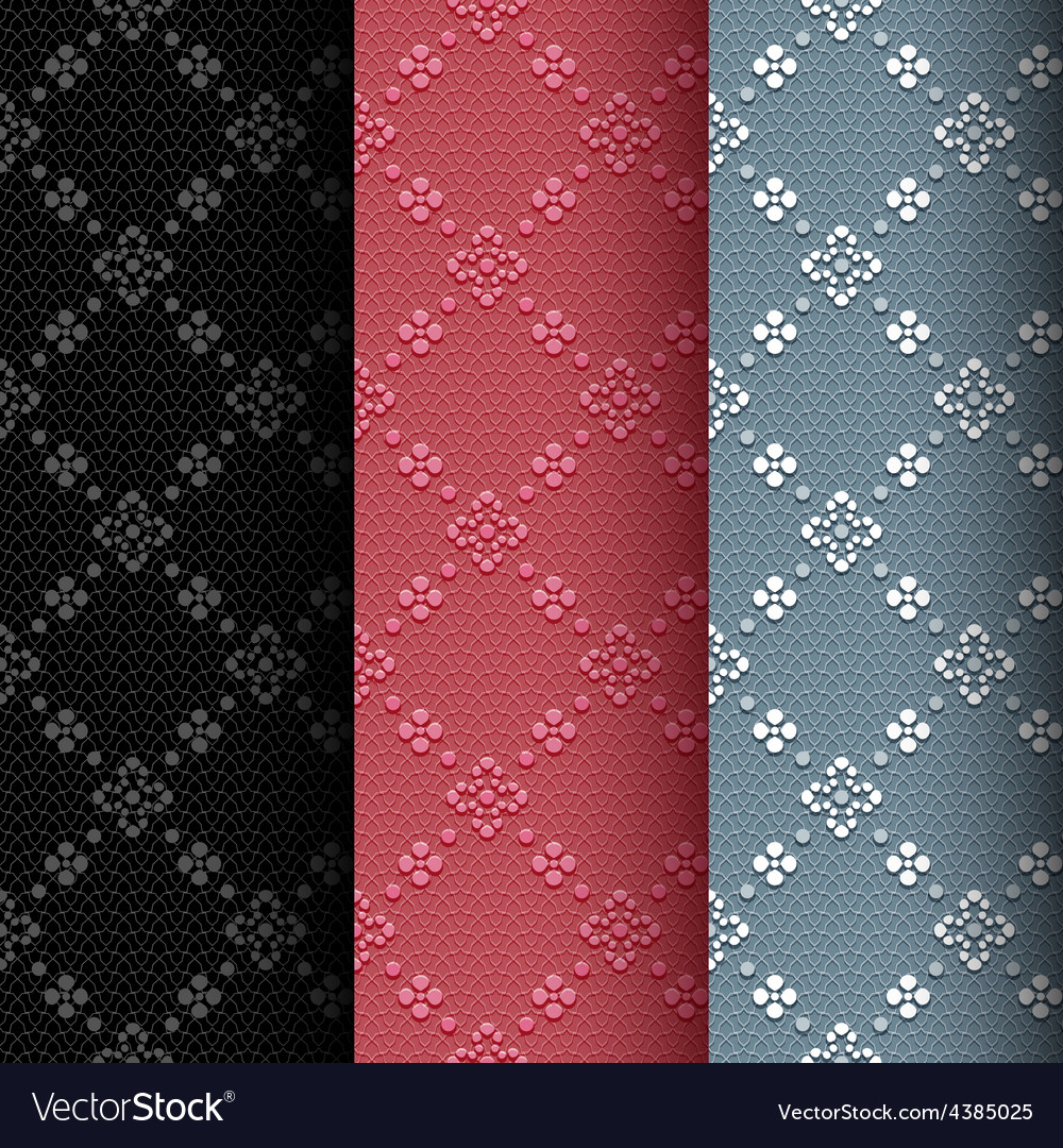 Collection of 3 vintage seamless classic pattern vector | Price: 1 Credit (USD $1)
