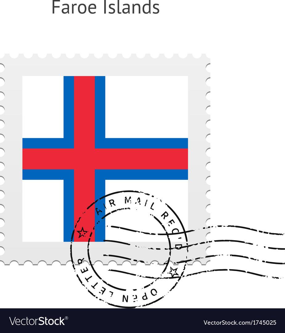 Faroe islands flag postage stamp vector   Price: 1 Credit (USD $1)