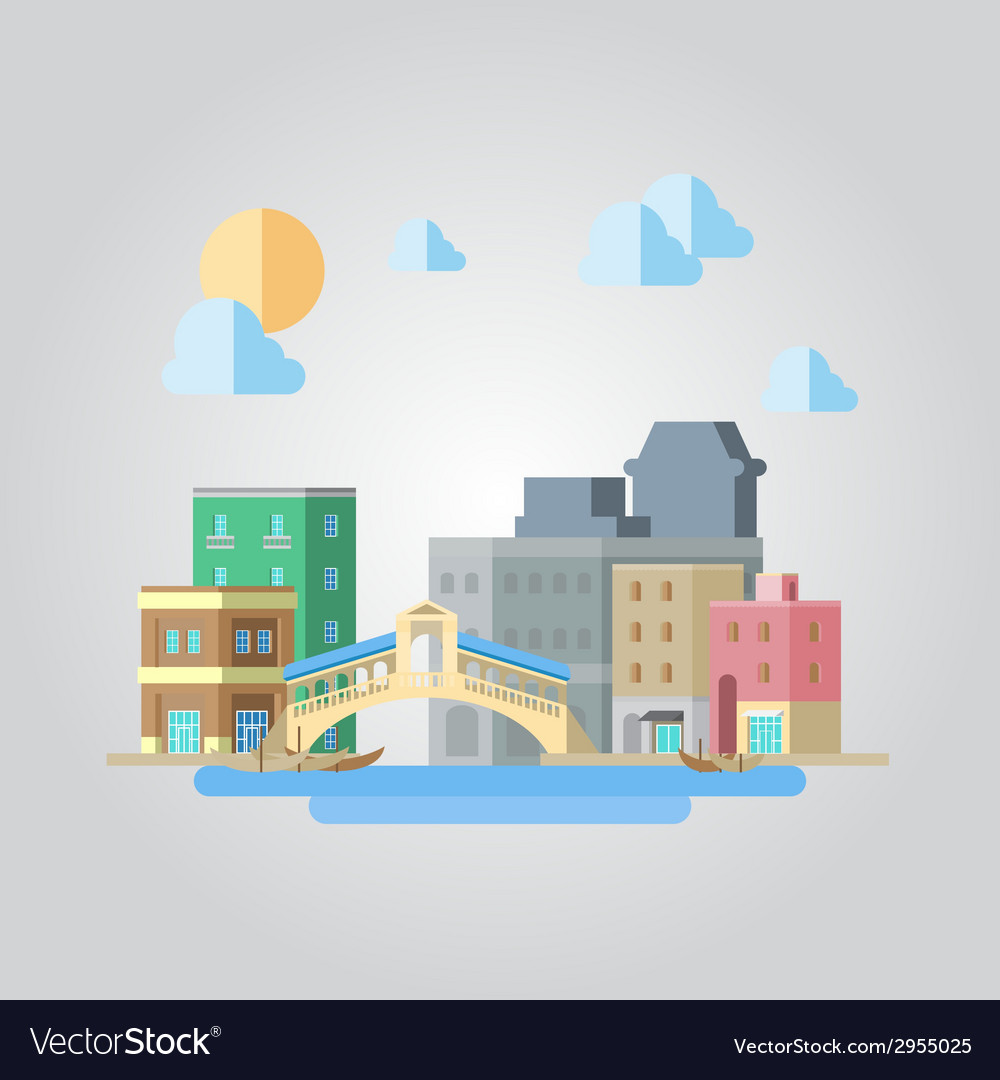 Flat design of venice bridge cityscape vector | Price: 1 Credit (USD $1)