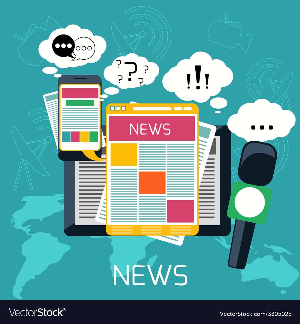 Mass media concept news radio newspaper vector | Price: 1 Credit (USD $1)