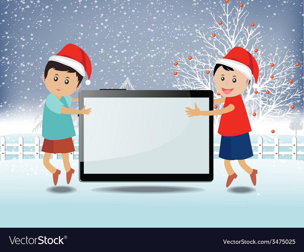 Merry christmas with happy kids and tablet vector | Price: 1 Credit (USD $1)