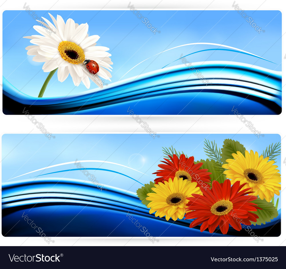 Nature banners with color flowers vector | Price: 3 Credit (USD $3)