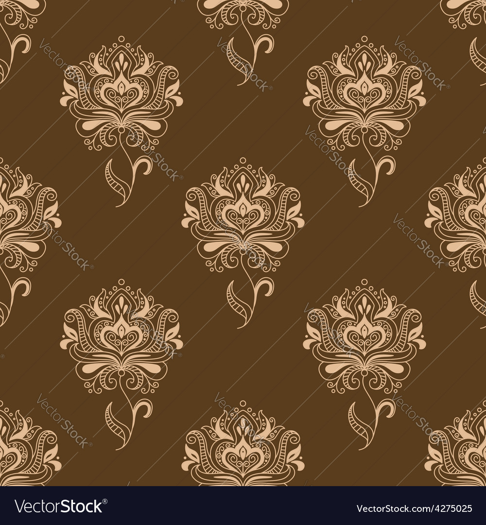 Oriental dainty paisley flowers seamless pattern vector   Price: 1 Credit (USD $1)