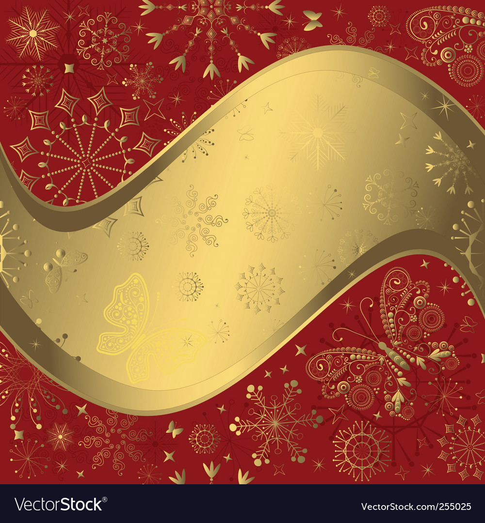 Red and golden christmas frame vector | Price: 1 Credit (USD $1)