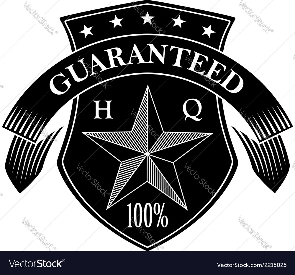 Retro guarantee label in black and white colors vector | Price: 1 Credit (USD $1)