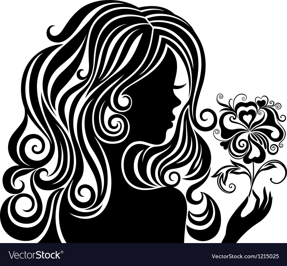 Silhouette of a girl with a flower vector | Price: 1 Credit (USD $1)
