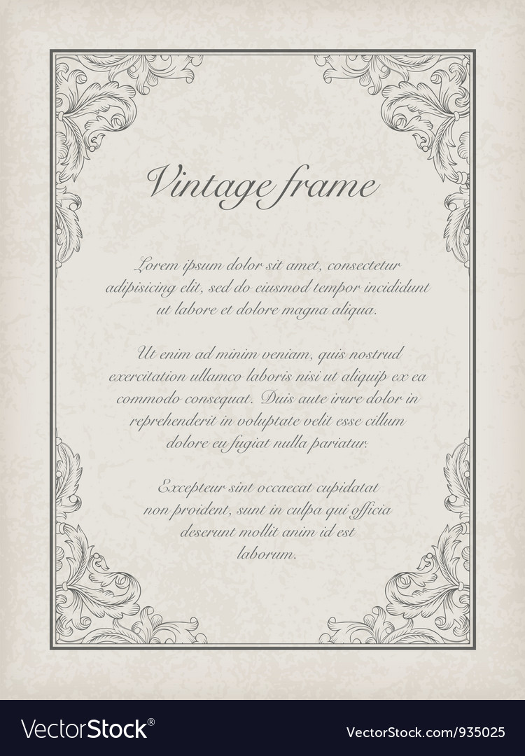 Vintage frame template vector | Price: 1 Credit (USD $1)