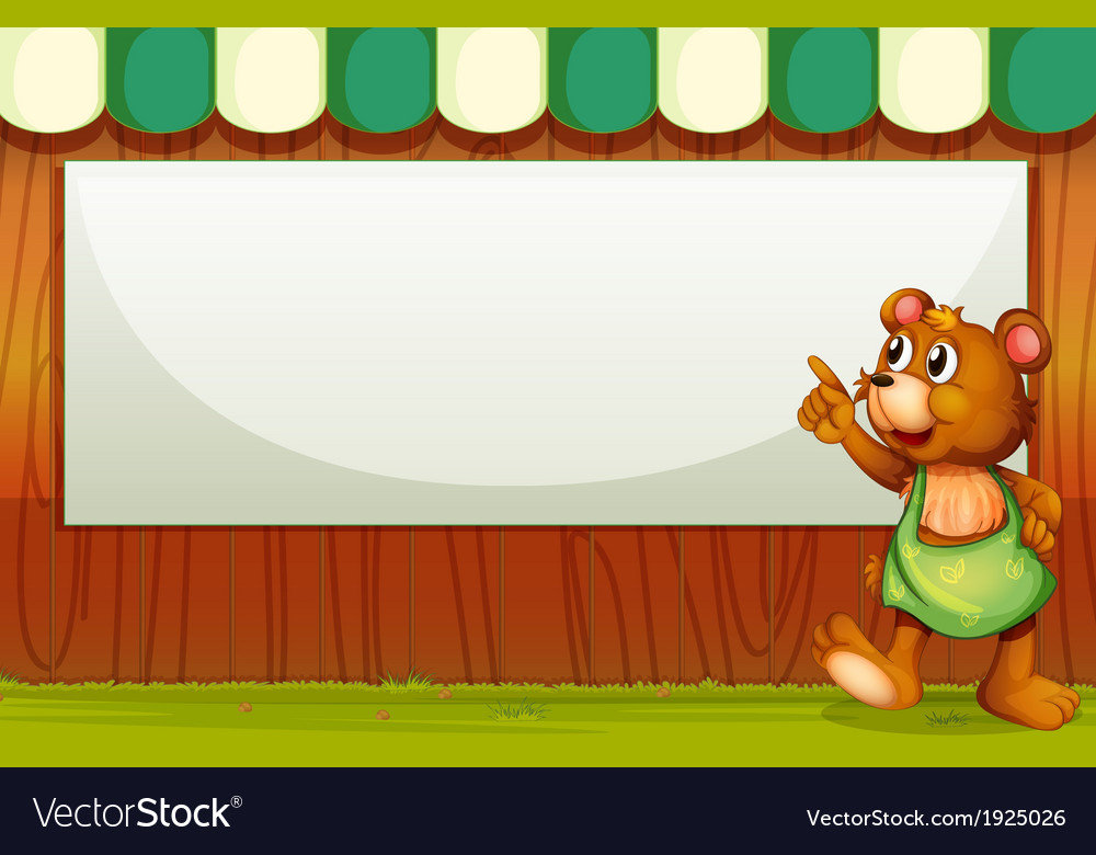 A bear beside the empty template vector | Price: 3 Credit (USD $3)