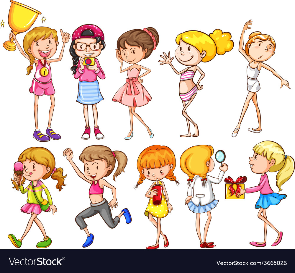 A group of young girls vector | Price: 1 Credit (USD $1)