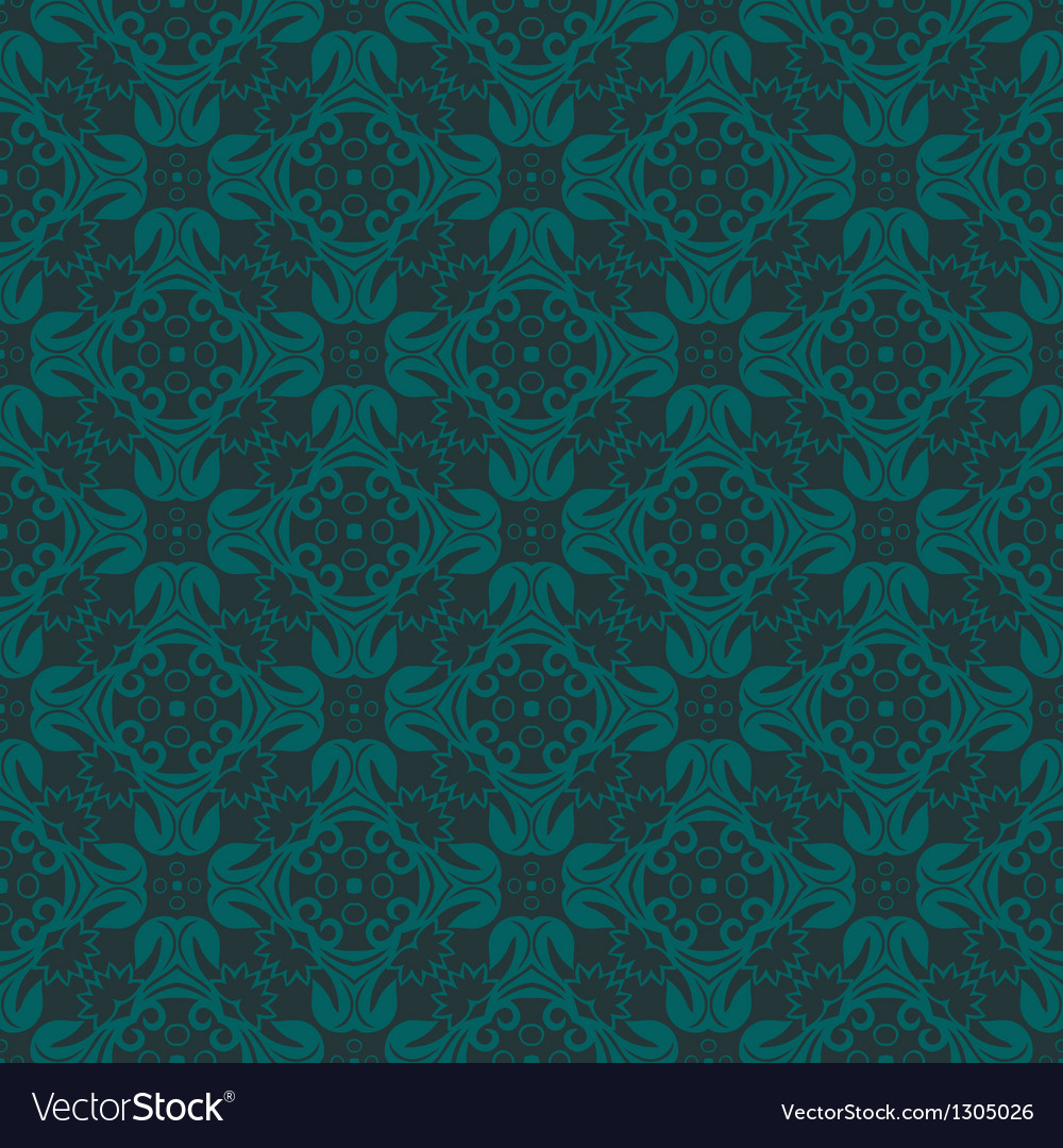 Bluish green colors flower and plant pattern vector | Price: 1 Credit (USD $1)
