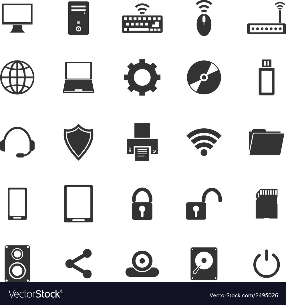 Computer icons on white background vector | Price: 1 Credit (USD $1)