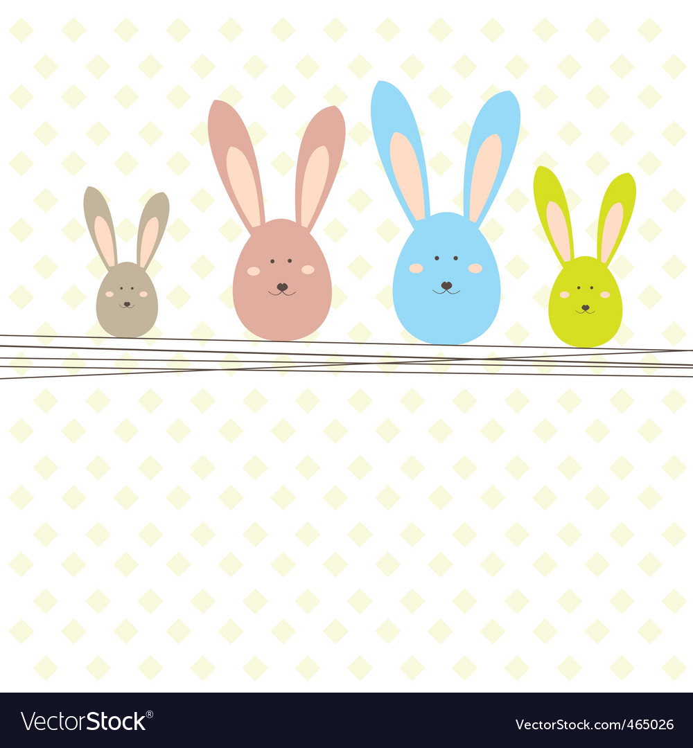 Easter card with rabbit vector | Price: 1 Credit (USD $1)