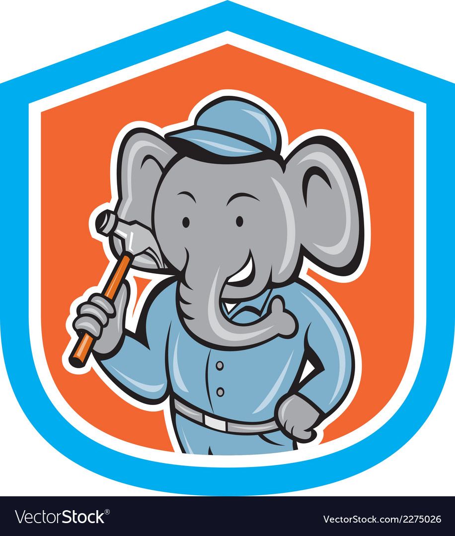 Elephant builder holding hammer crest cartoon vector | Price: 1 Credit (USD $1)