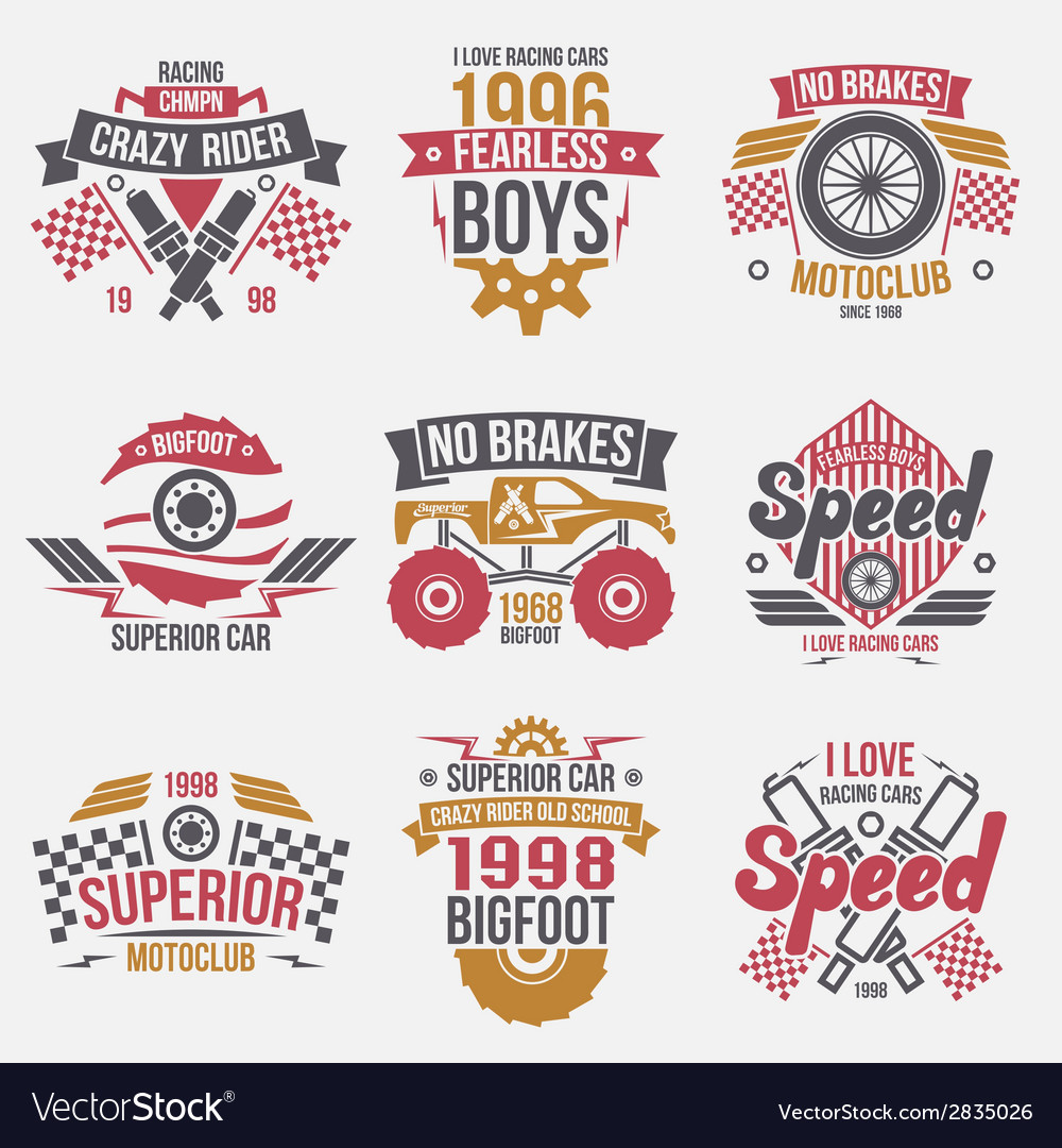 Emblems retro vintage race and super cars vector | Price: 1 Credit (USD $1)