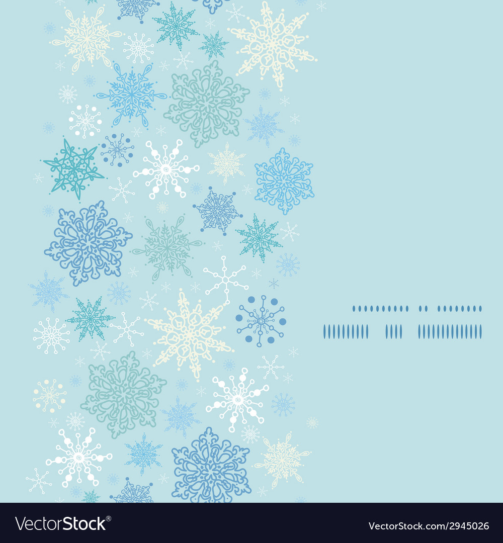 Falling snow vertical frame seamless pattern vector