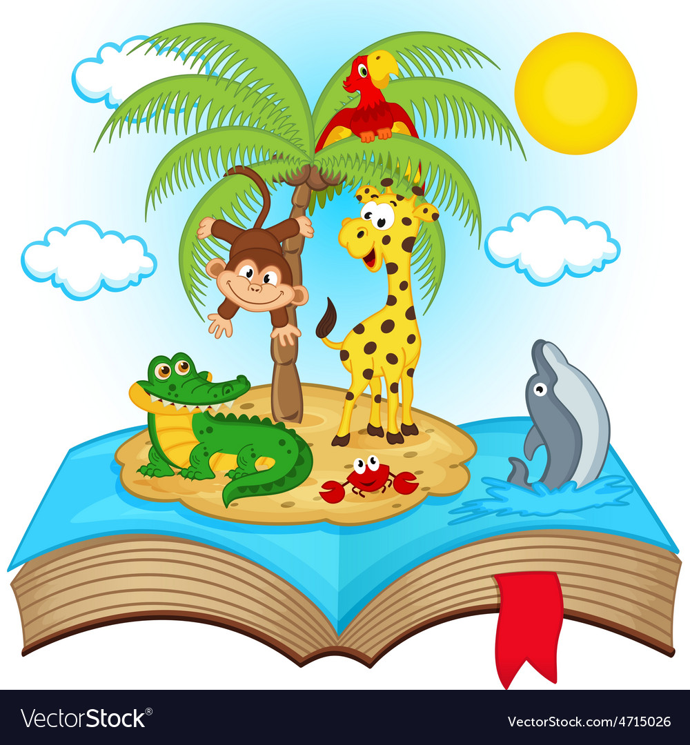 Open book with island in sea vector
