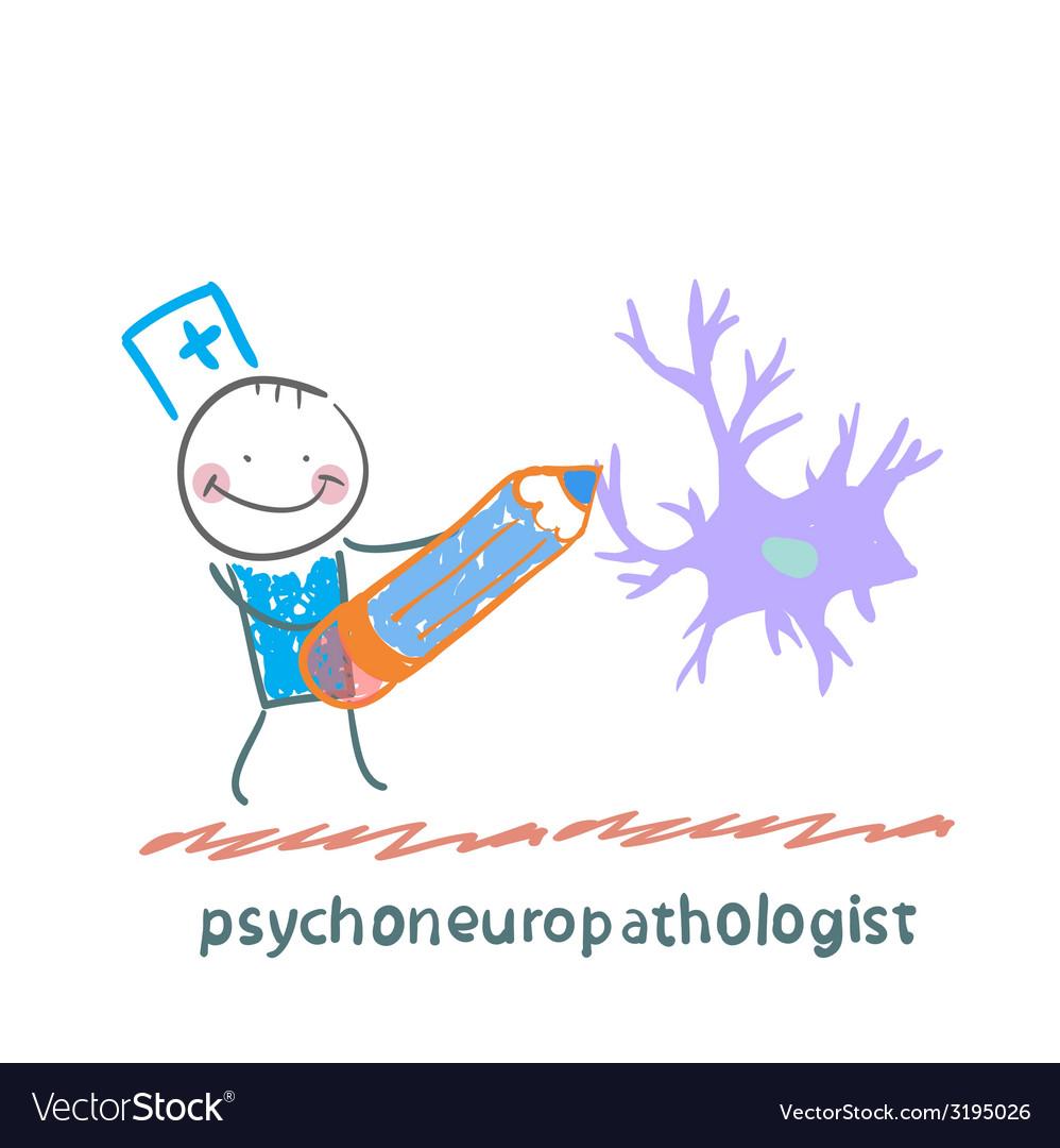 Psychoneuropathologist pencil draws the nerve vector | Price: 1 Credit (USD $1)
