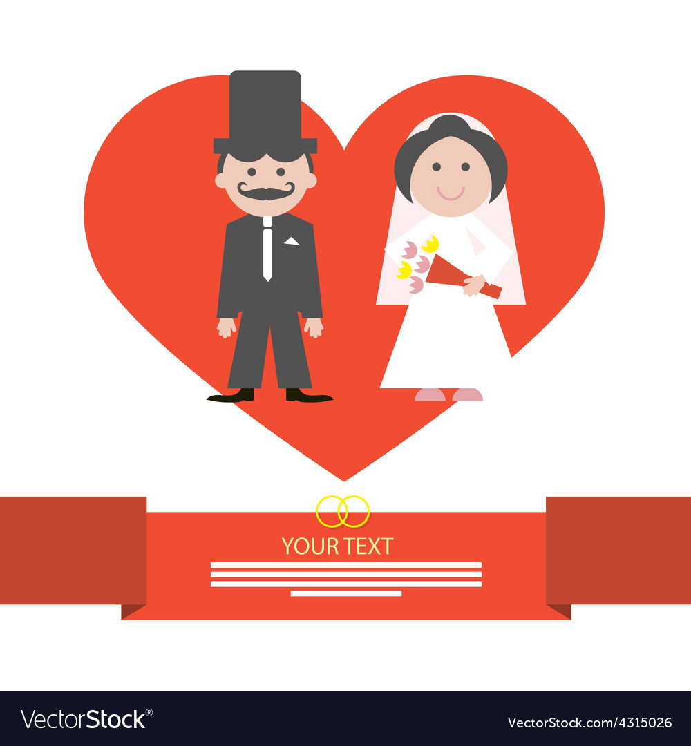 Red retro flat design wedding card with groo vector | Price: 1 Credit (USD $1)