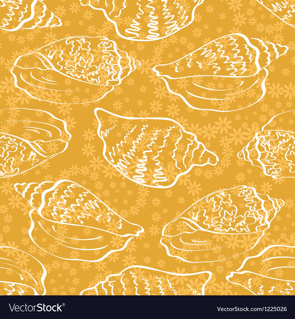 Seamless background outline seashells vector | Price: 1 Credit (USD $1)